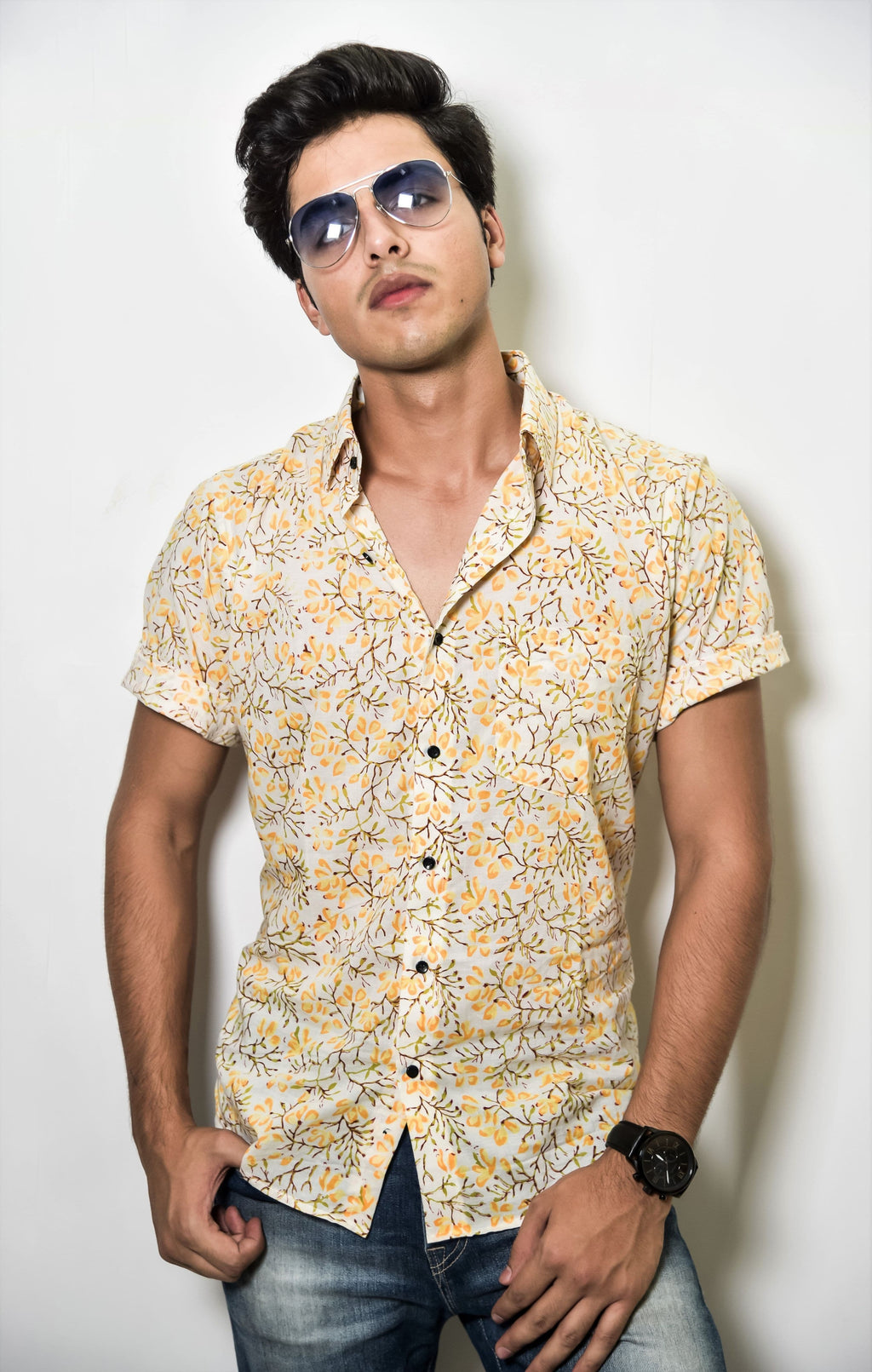 Light yellow and white printed shirt by Kaldern clothing designed for a grandeur look.