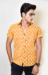 royal yellow printed shirt by Kaldern clothing designed for a grandeur look.