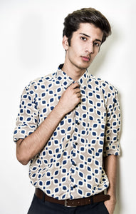 Grey printed shirts with blue details by Kaldern clothing designed for a royal look.