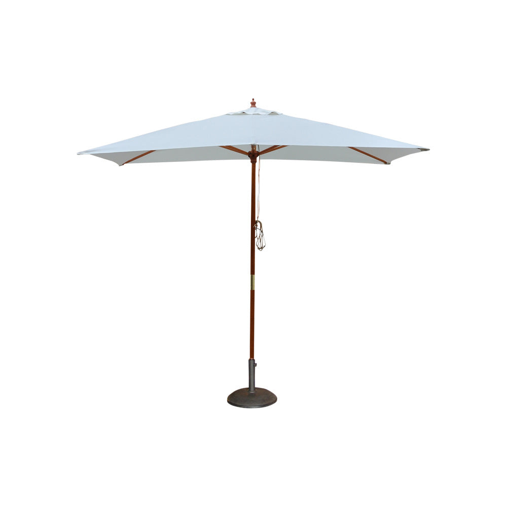 White & Timber Market Umbrella 3m W (with base)