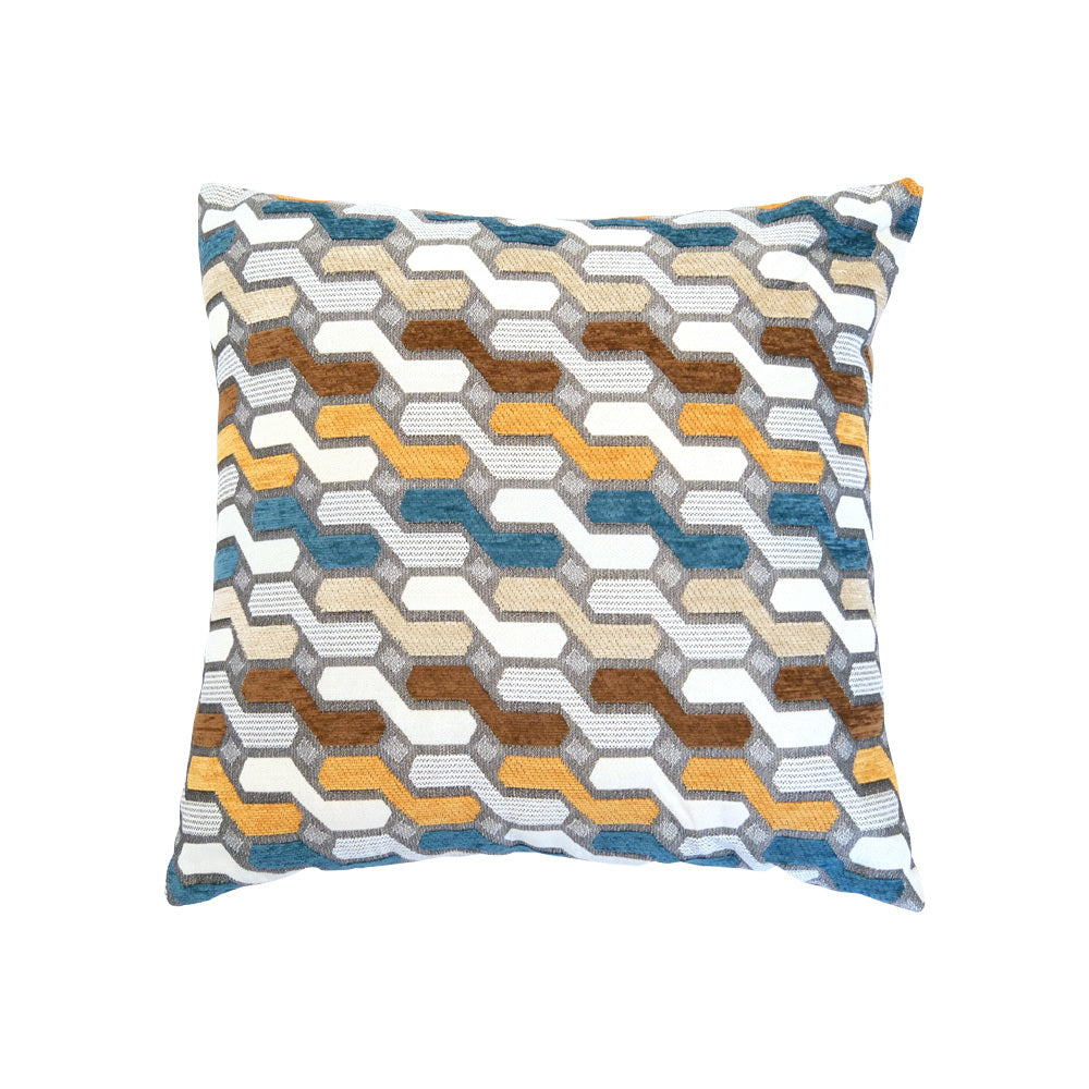 Aqua Brown & Mustard Geo Cushion