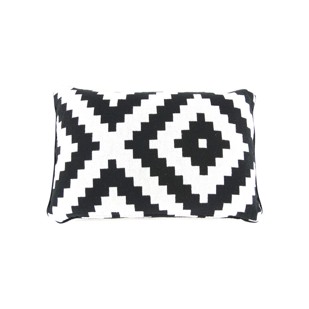 B&W pixeled boho cushion