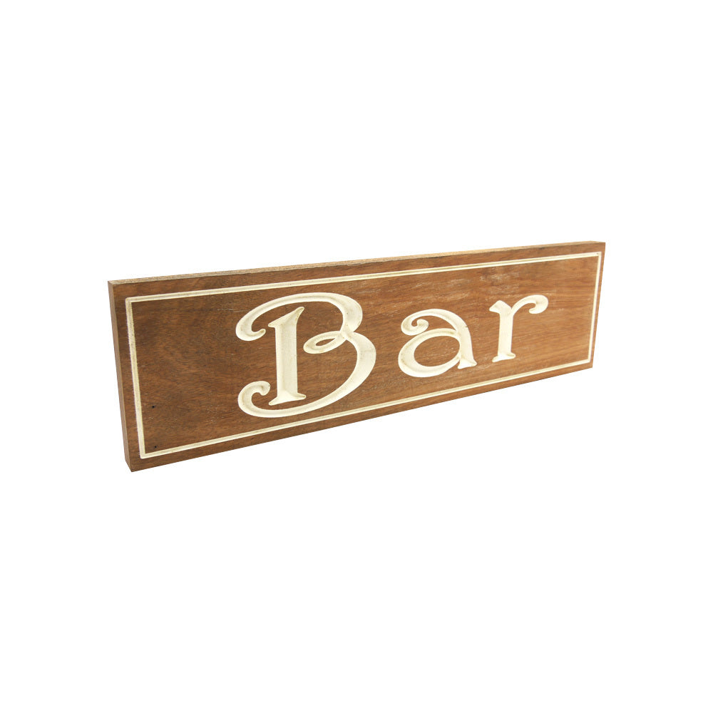 Bar (Sign) White on solid Tallowood