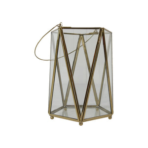 Brass & glass candle holder