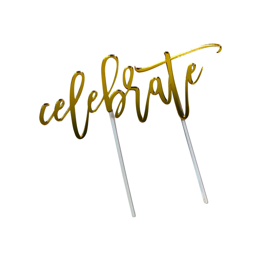 Cake Topper - Gold Mirror ('Celebrate')