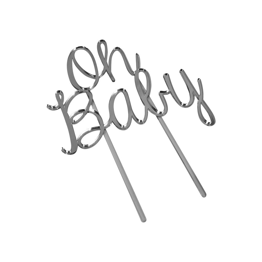 Cake Topper - Chrome Mirror ('Oh Baby')