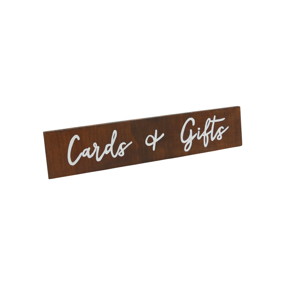 Cards & Gifts (Sign) White on Walnut