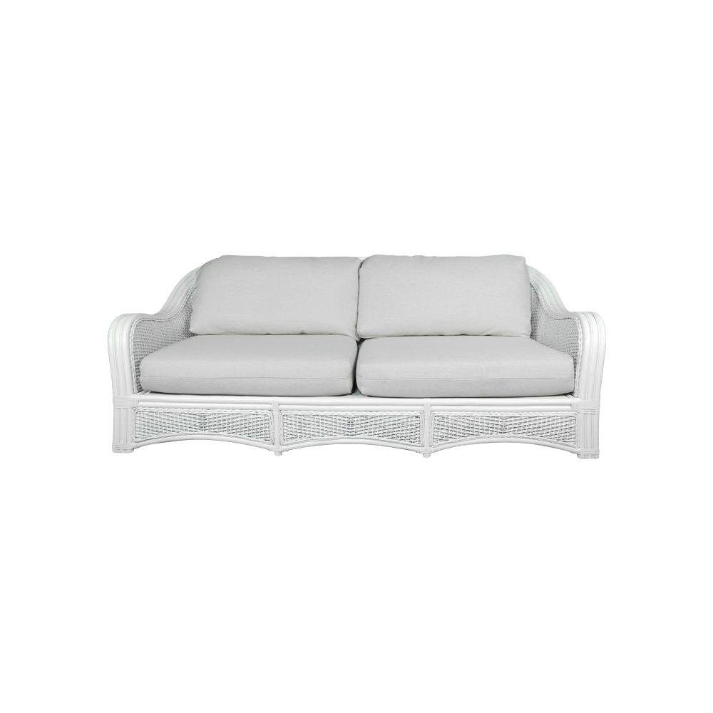 Fitzroy White Cane 4 Seater Sofa
