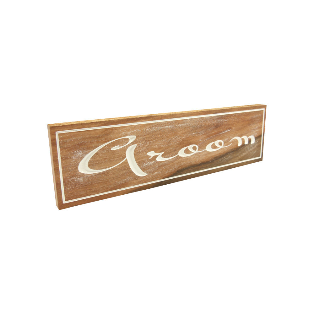 Groom (Sign) White on solid Tallowood