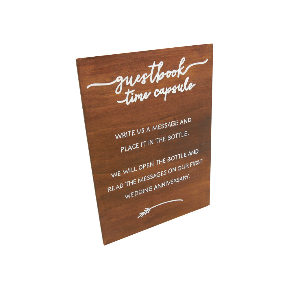 Guestbook Time Capsule (Sign) White on Walnut