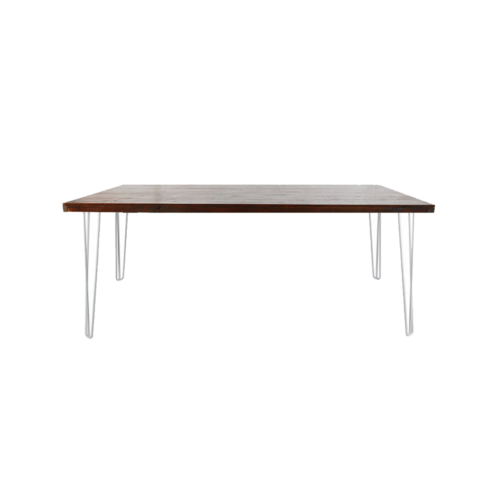 Hairpin Dining Table 1.8m (Walnut Top, White Legs)