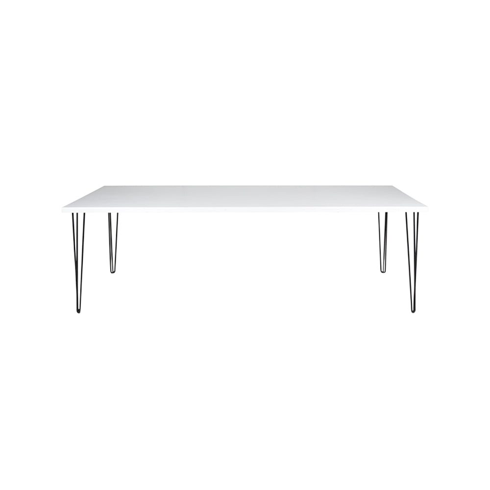 Hairpin Dining Table 2.4m (White Top, Black Legs)
