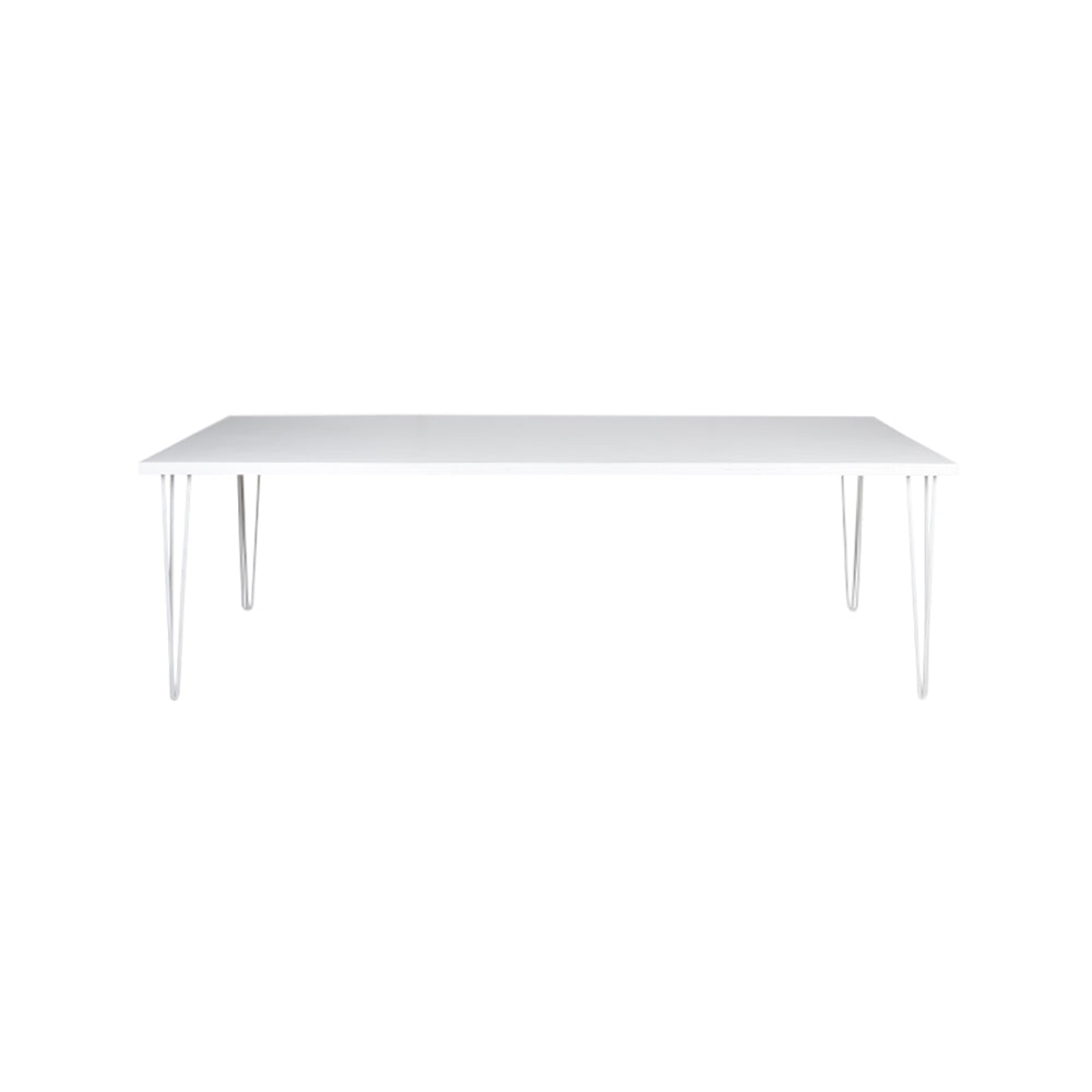 Hairpin Dining Table 2.4m (White Top, White Legs)
