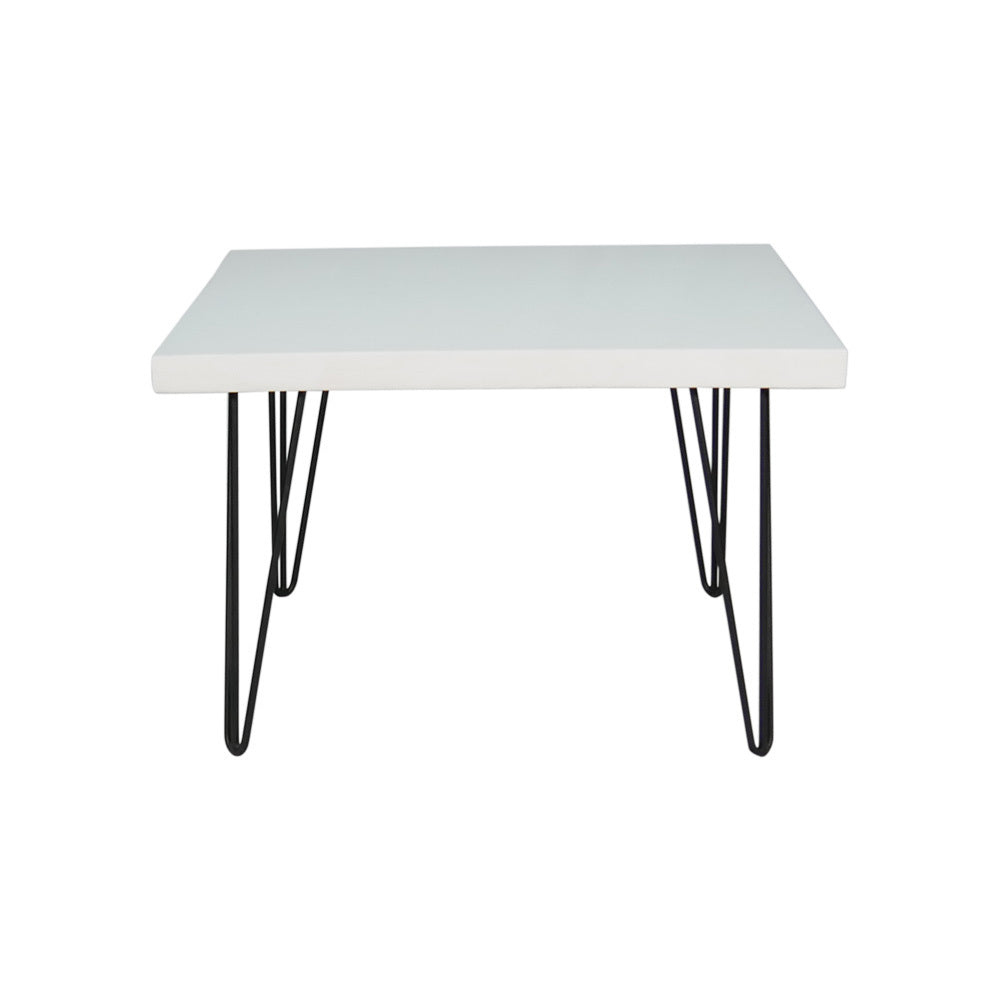 Hairpin Square Coffee Table (White Top, Black Legs)