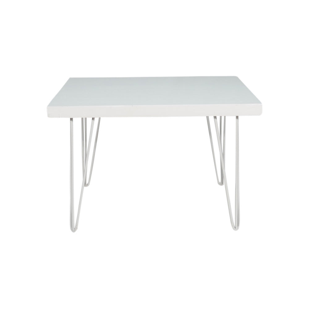 Hairpin Square Coffee Table (White Top, White Legs)