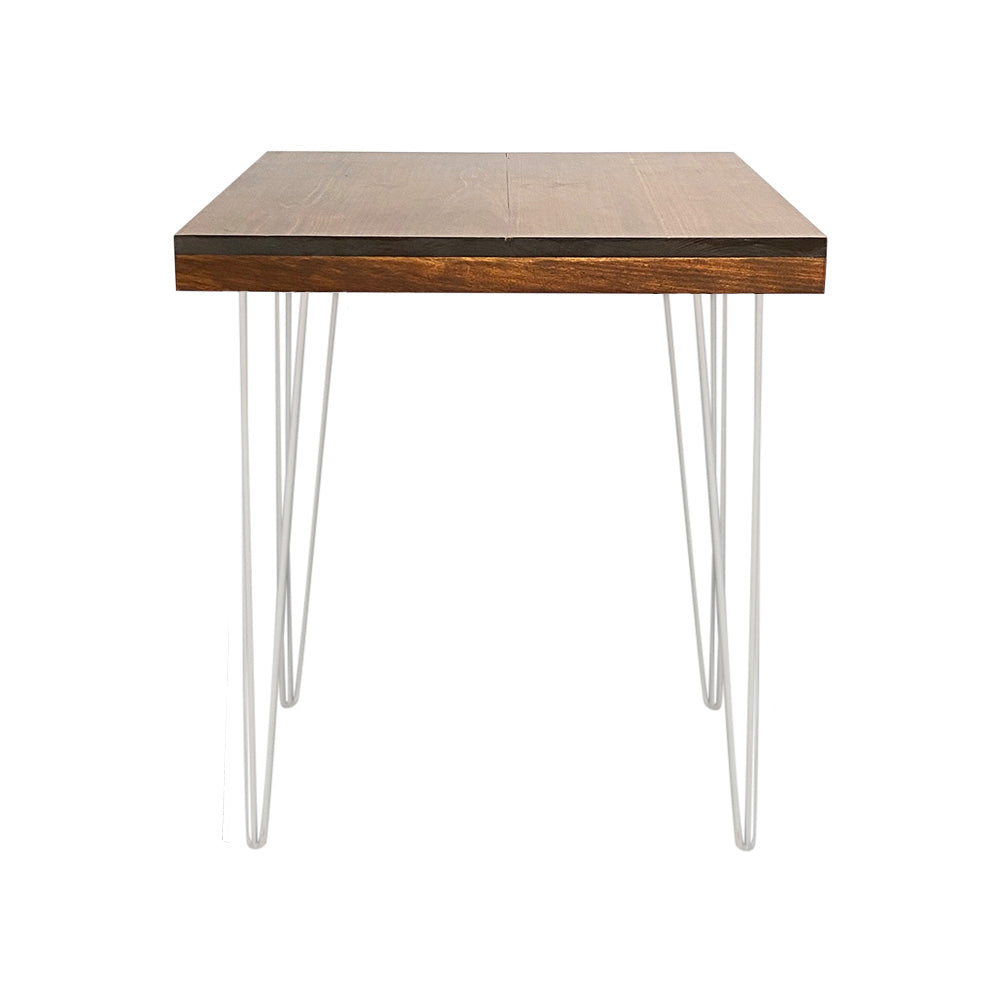 Hairpin Square Dining Table (Walnut Top, White Legs)
