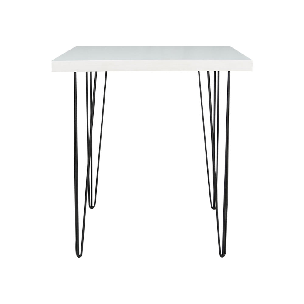 Hairpin Square Dining Table (White Top, Black Legs)
