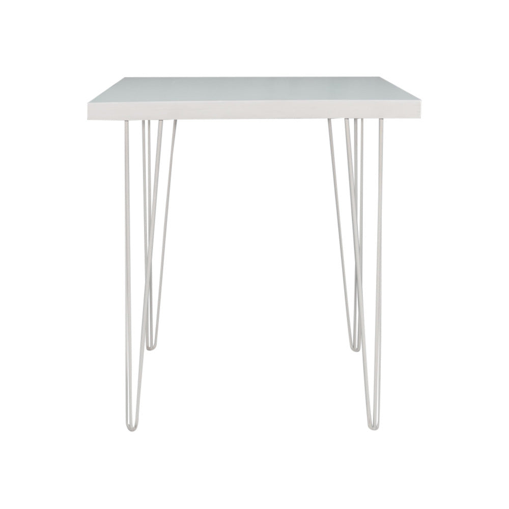 Hairpin Square Dining Table (White Top, White Legs)
