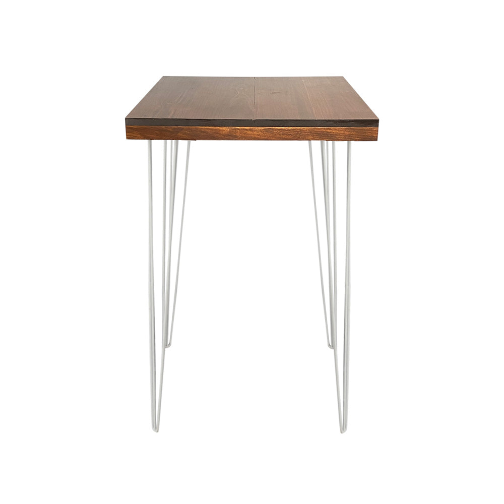 Hairpin Square High Bar (Walnut Top, White Legs)