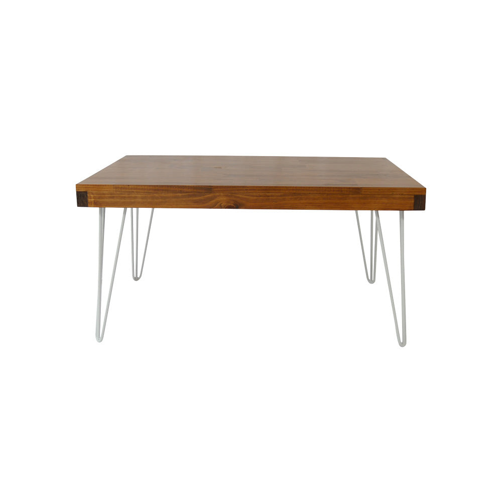 Hairpin Rectangle Coffee Table (Walnut Top, White Legs)