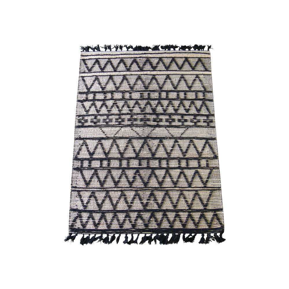 Jute & Black Geo Pattern Rug (Large)