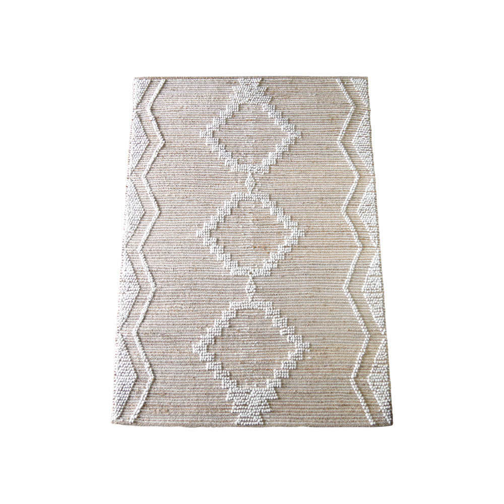 Jute & White Geo Pattern Rug (Large)
