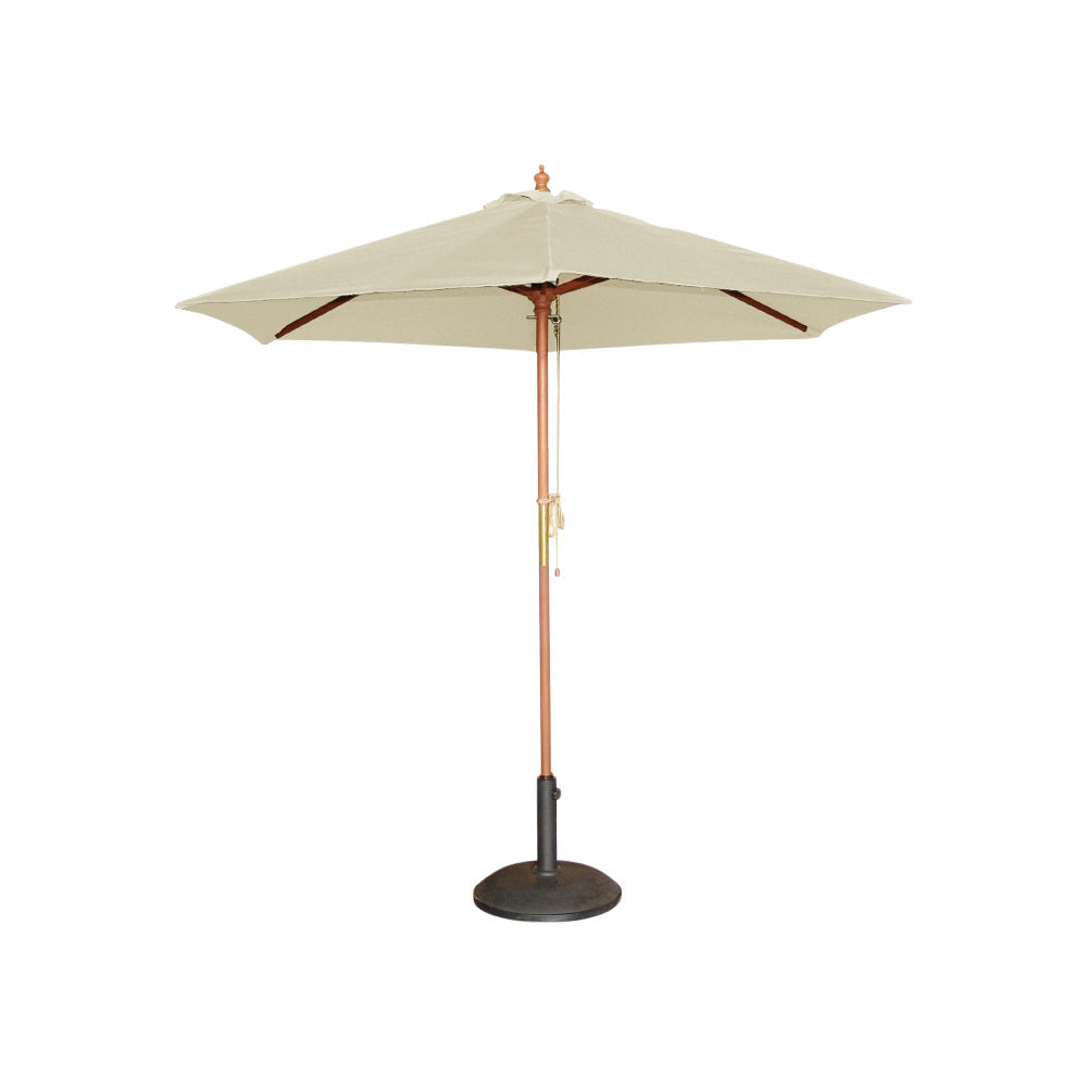 Cream & Timber Market Umbrella 2.5m W (with base)