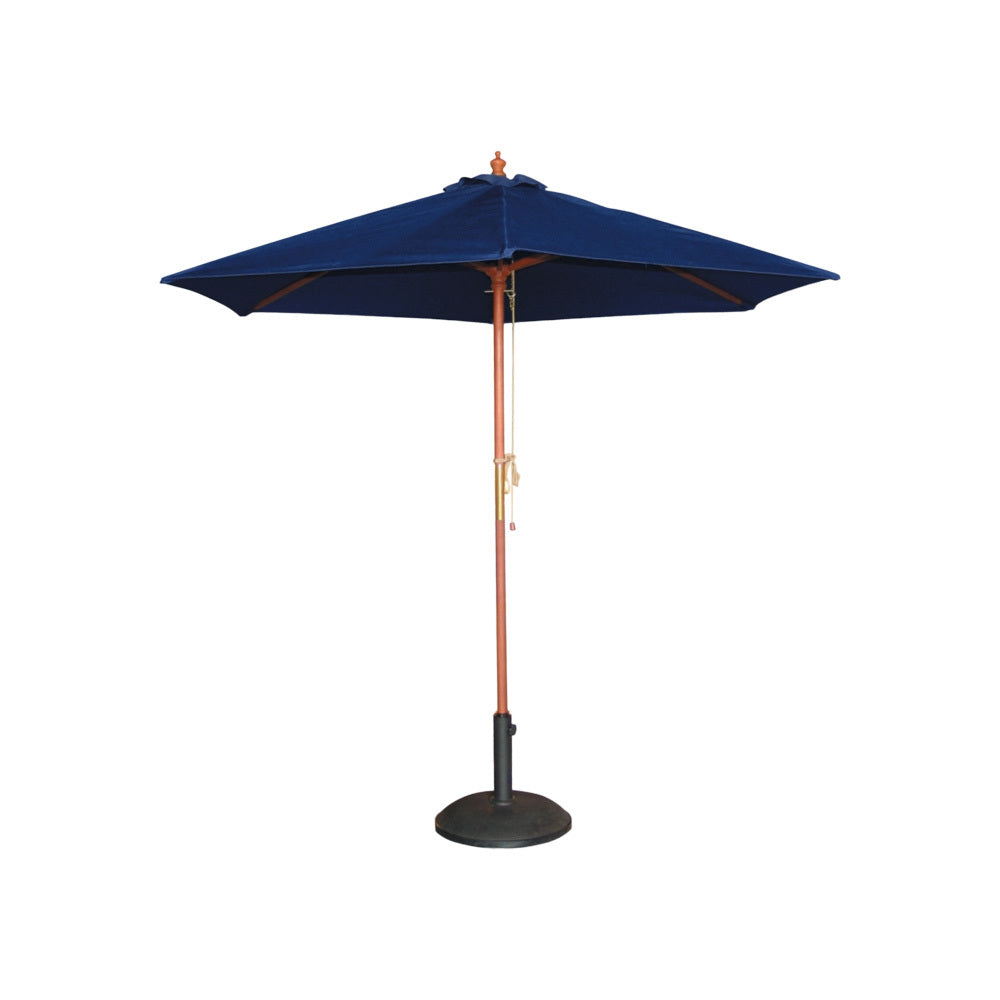 Navy Blue & Timber Market Umbrella 2.5m W (with base)