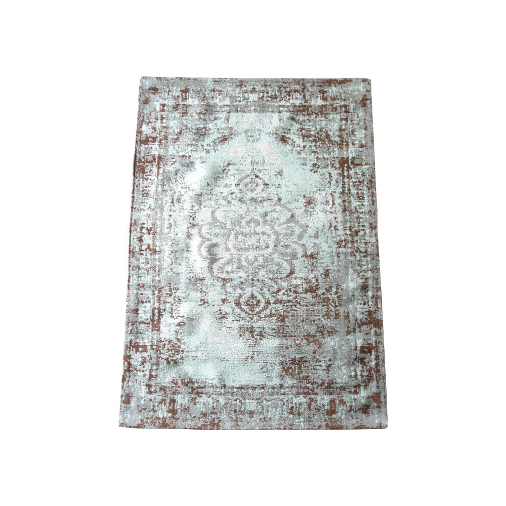 Aqua & Chocolate Patterned Rug (Large)