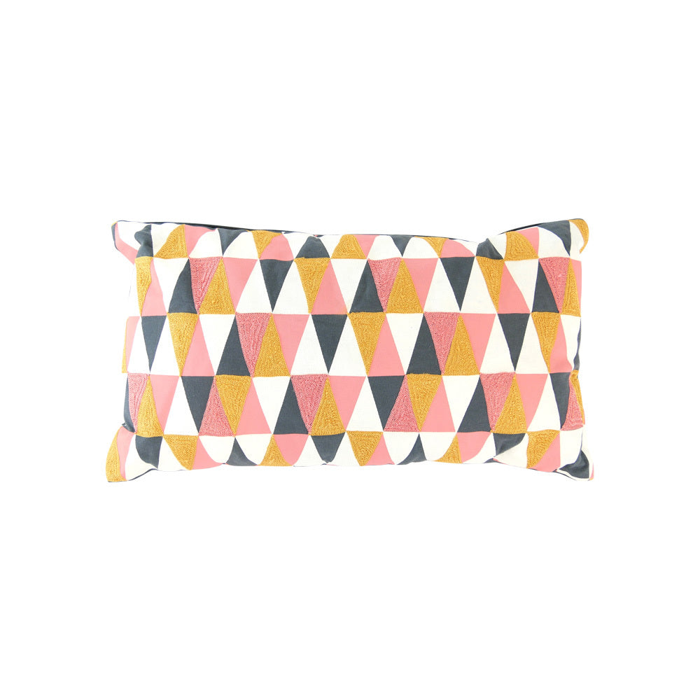 Pink, Yellow & grey cushion (rectangle)