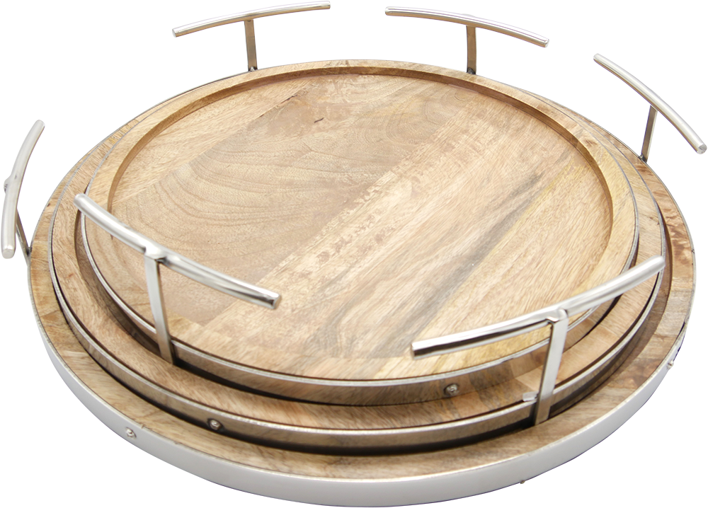Timber & Chrome Circular Tray (Set of 3)