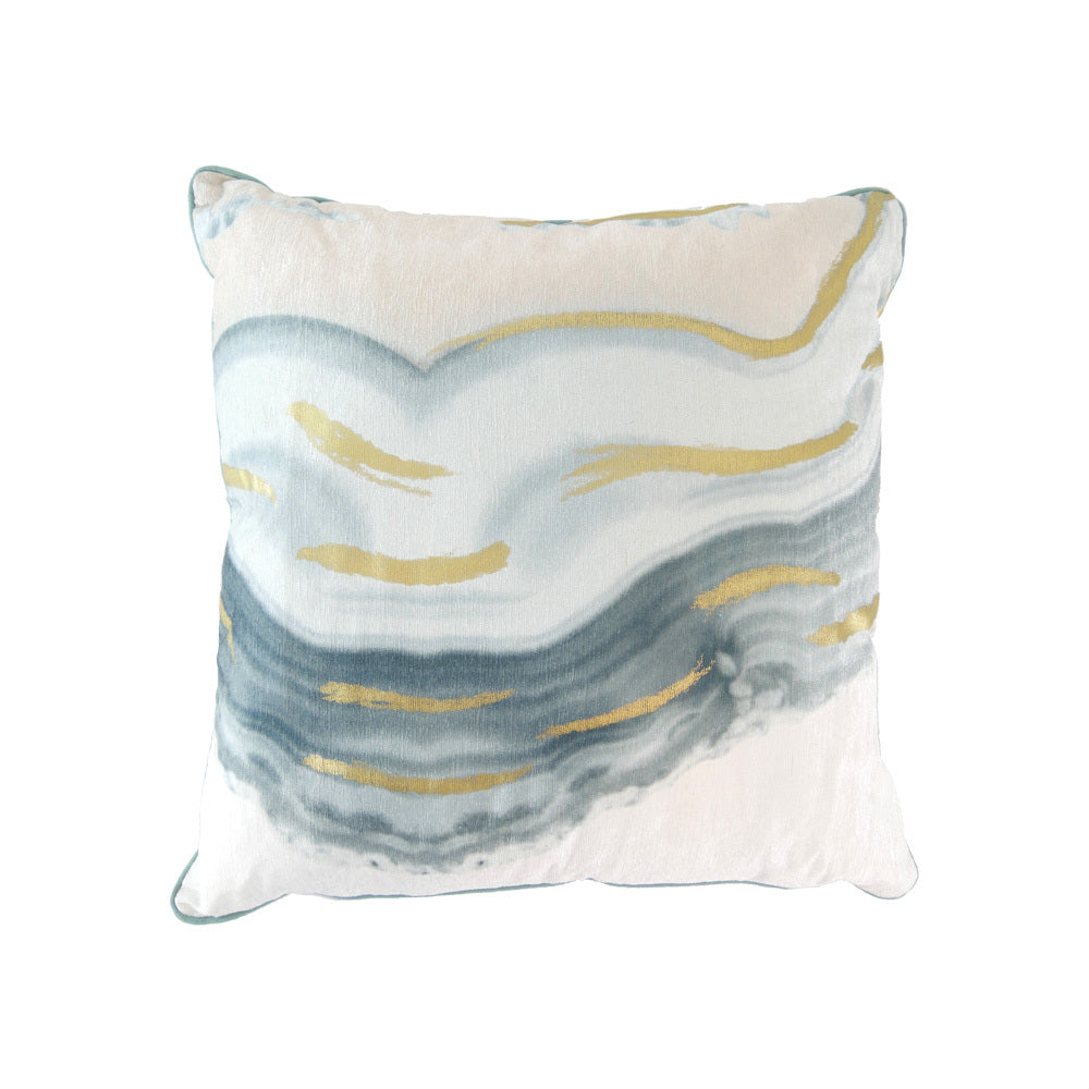 Water colour blue & gold cushion