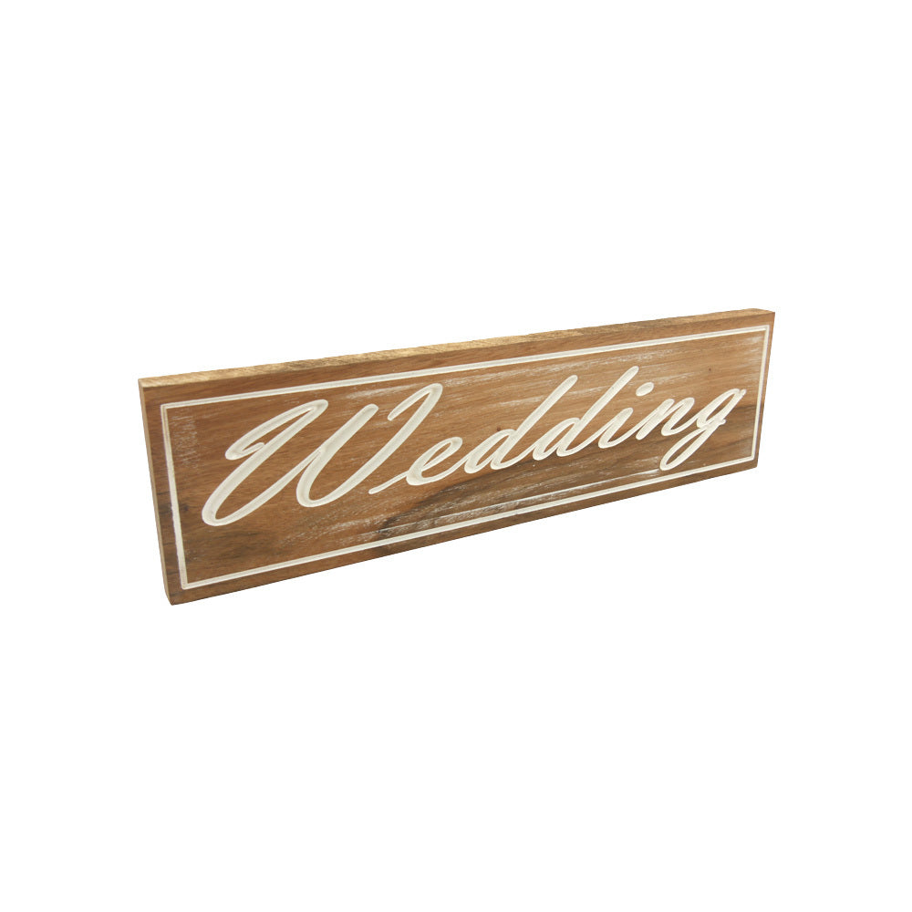 Wedding (Sign) White on solid Tallowood