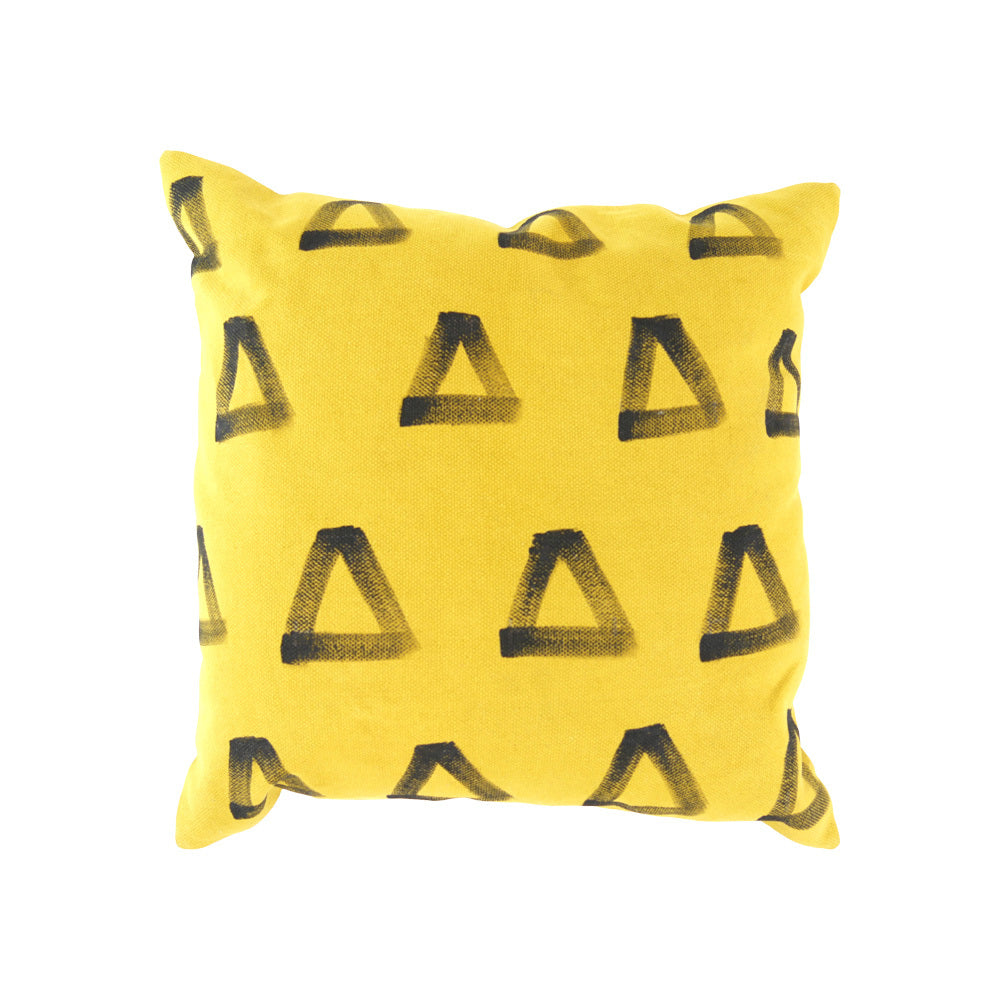 Yellow w Black triangles cushion