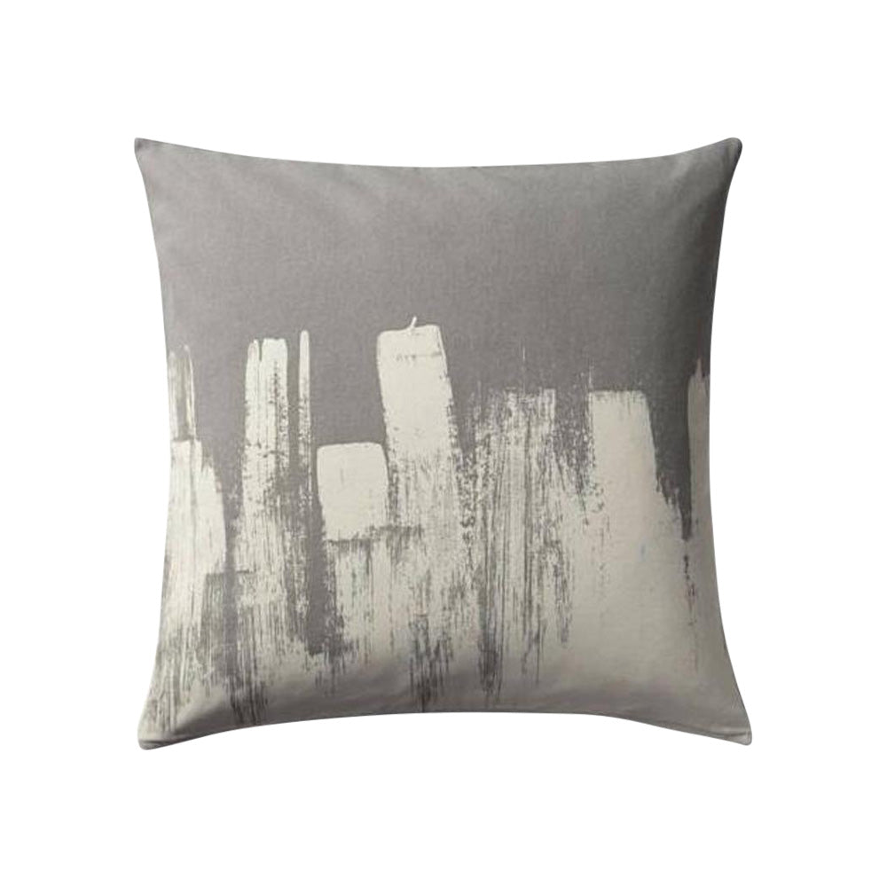 Grey with White Paint Strokes Cushion