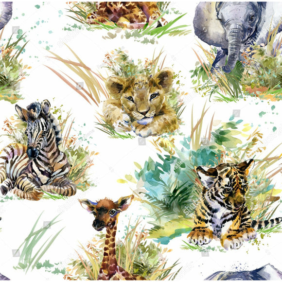 'Jungle Babies' 290GSM Minky per metre