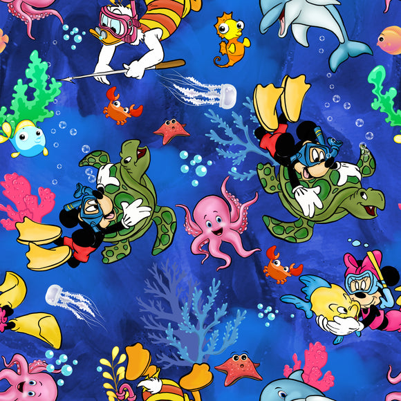 PRE- PURCHASE NOW OPEN -'Under the Sea' 290GSM Minky per metre