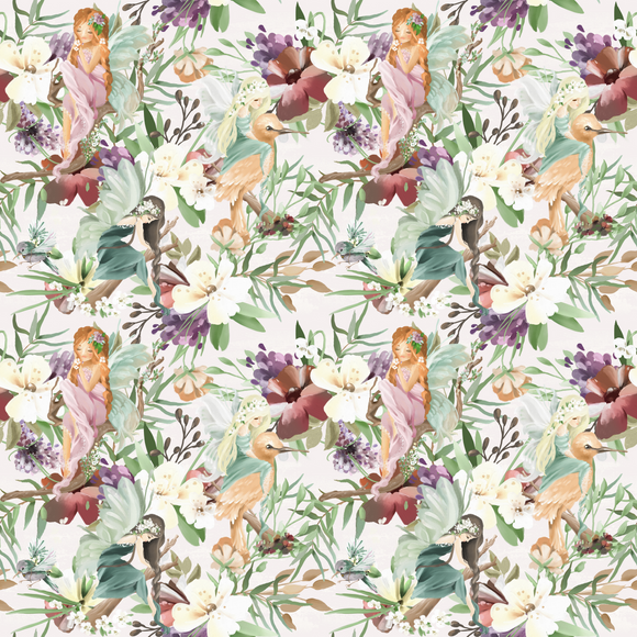 Woodland Flower Fairies' 290GSM Minky per metre