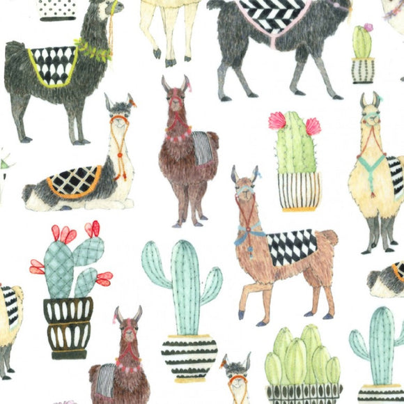 MINKY FABRIC - Lovely Llamas Minky on white by Michael Miller