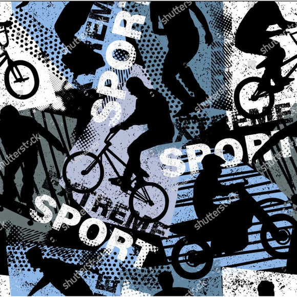 'Extreme Sports' in Blue 290GSM Minky per metre