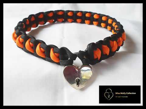 Black & Orange Soft Day Collar & Heart Lock