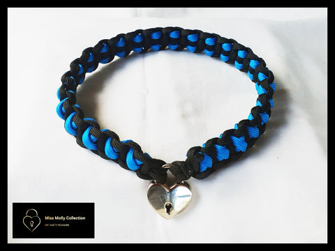 Black & Electric Blue Soft Day Collar & Heart Lock