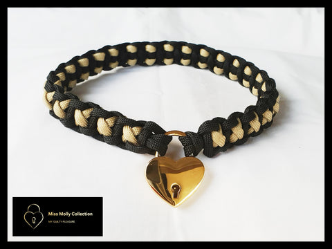 Black & Gold Soft Day Collar & Heart Lock