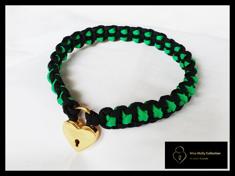 Black & Green Soft Day Collar & Heart Lock