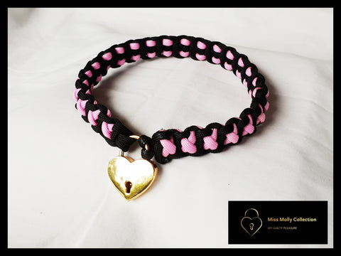Black & Pink Soft Day Collar & Heart Lock