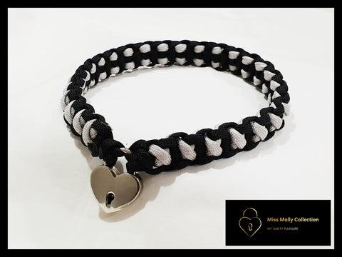 Black & Silver Soft Day Collar & Heart Lock