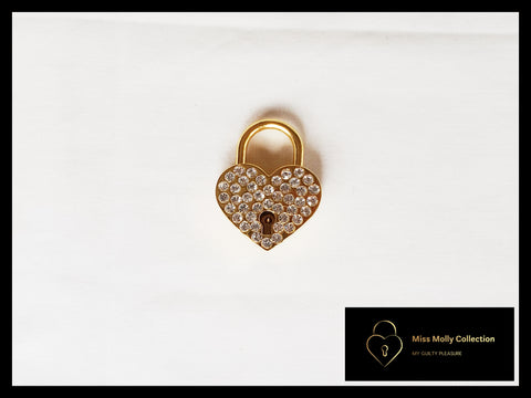 Gold with Sparkling Heart Lock