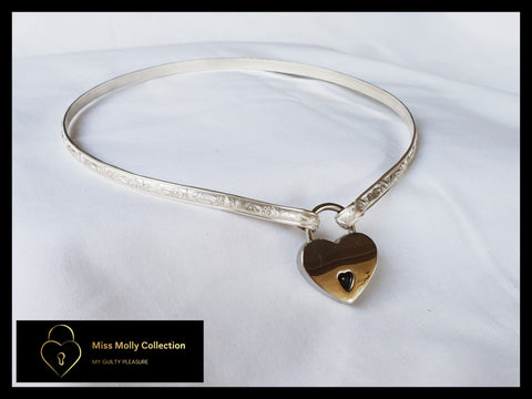 Sterling Silver Day Collar & Silver Heart Lock