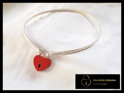 Sterling Silver Day Collar & Red Heart Lock