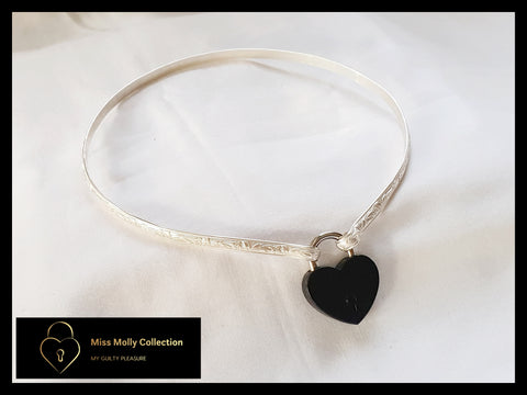 Sterling Silver Day Collar & Black Heart Lock